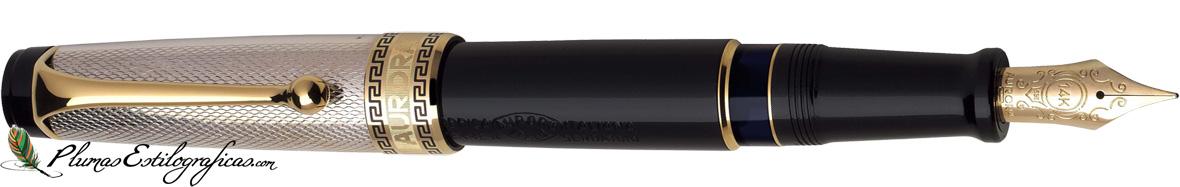 Estilográfica Aurora Optima Plata-negro