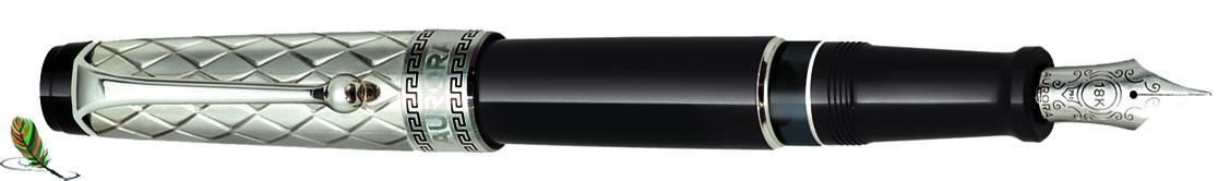 Estilográfica Aurora Optima Riflessi Plata-negro
