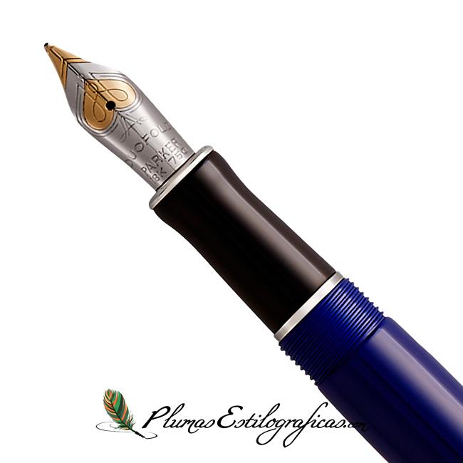 Estilográfica Parker Duofold Classic Negro y Azul CT International plumín