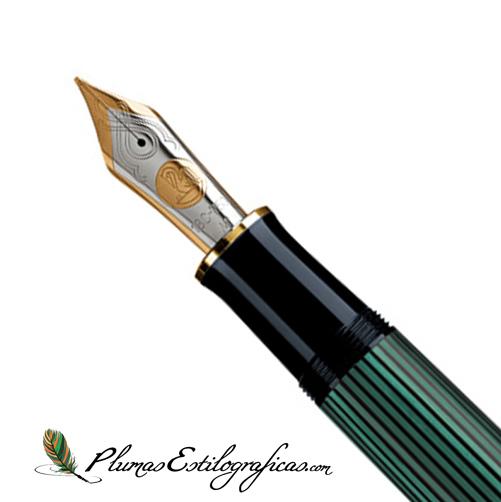 Plumín Pelikan Souveraen M 1000 Negro-verde