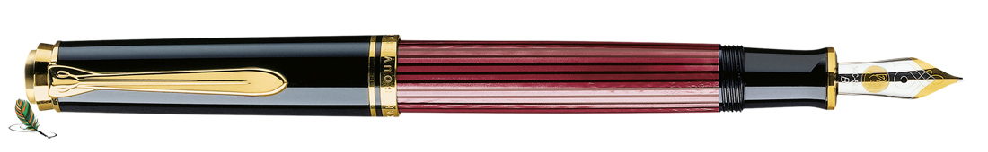 Estilográfica Pelikan Souveraen M 600 Negro-rojo
