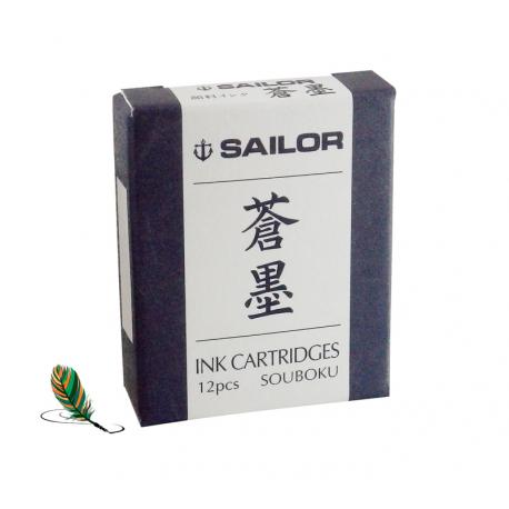 Cartuchos Sailor de tinta pigmentada azul-negro